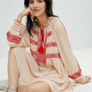 Nw Free People Wind Willow Embroidered Beige Dress